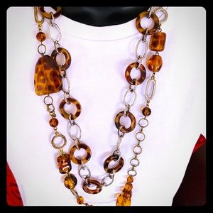 Pack of 2 Leopard Animal Print chain necklaces
